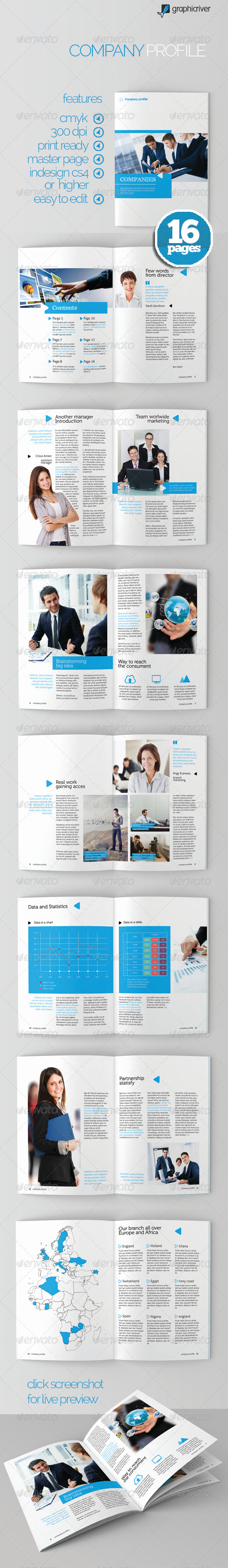 Clean Company Profile - Brochures Print Templates