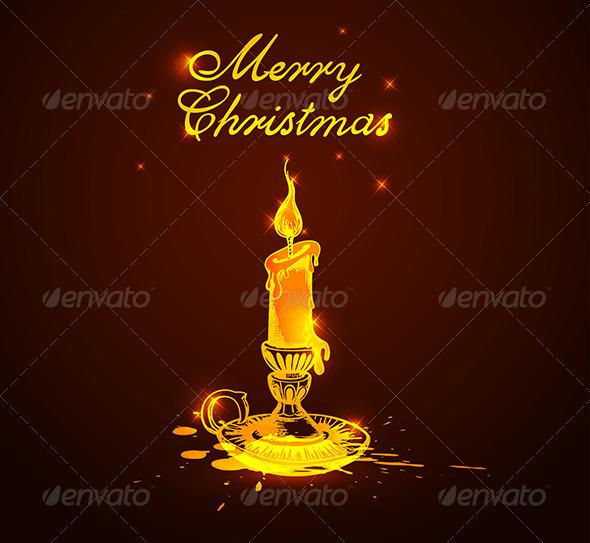 Background with Shining Candle - Christmas Seasons/Holidays