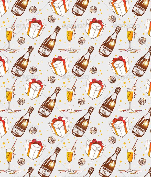 Seamless Pattern with Champagne - Patterns Decorative