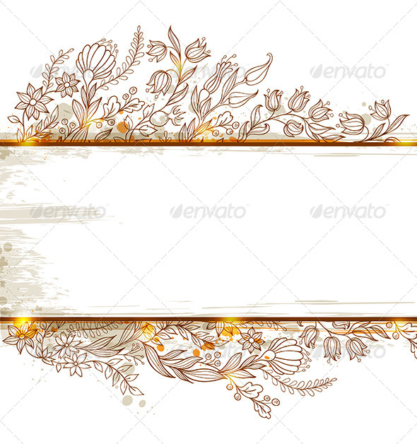Banner with Flowers and Leaves - Flowers & Plants Nature