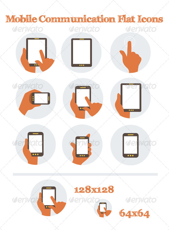 Mobile Communication Flat Icons - Technology Icons