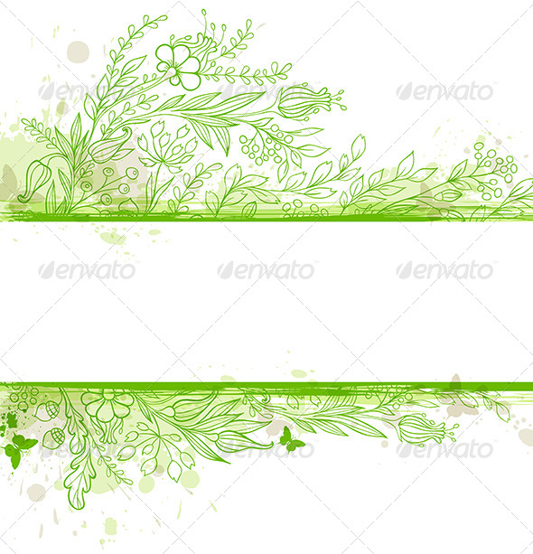 Green Banner with Flowers and Leaves - Flowers & Plants Nature