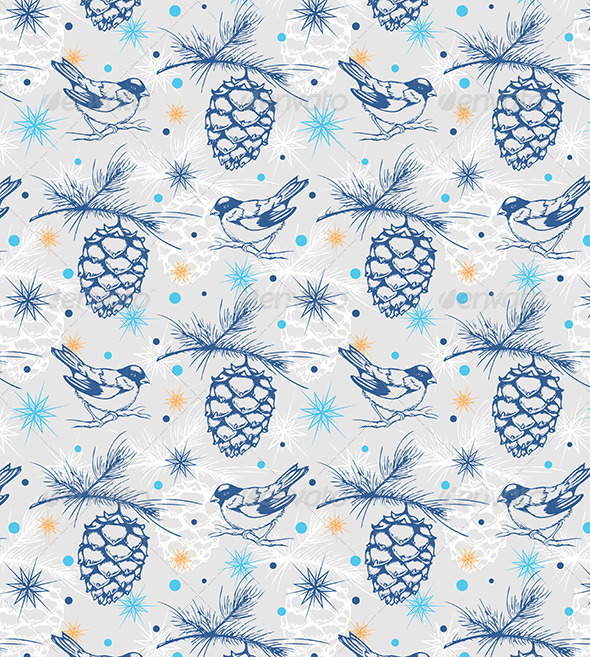 Seamless Pattern with Birds - Patterns Decorative
