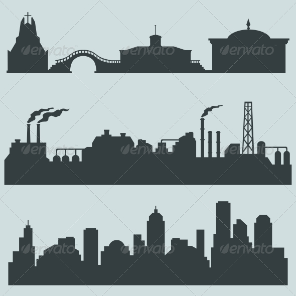 Set of City Silhouettes - Buildings Objects
