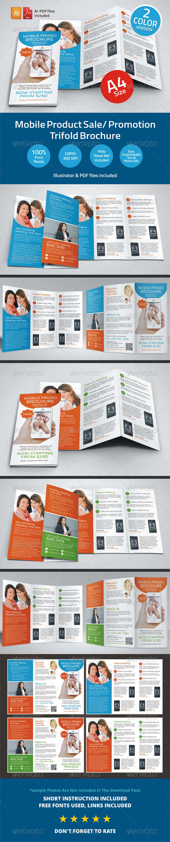 Mobile Product Sale/ Promotion Trifold Brochure - Corporate Brochures