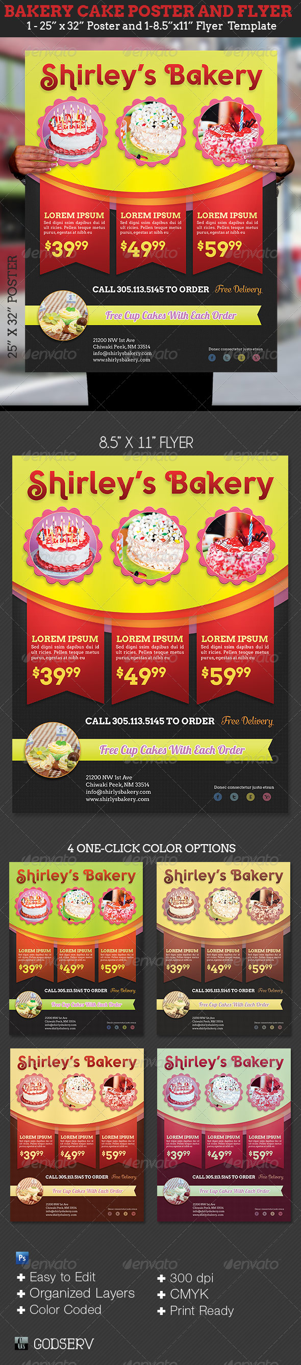 Bakery Cake Flyer Poster Template - Commerce Flyers
