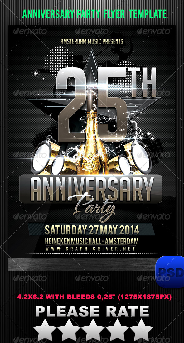Anniversary Party Flyer Template By Stormclub | Graphicriver