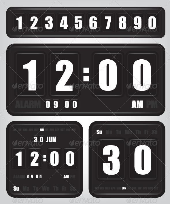 Digital Retro Clock and Calendar - Technology Conceptual
