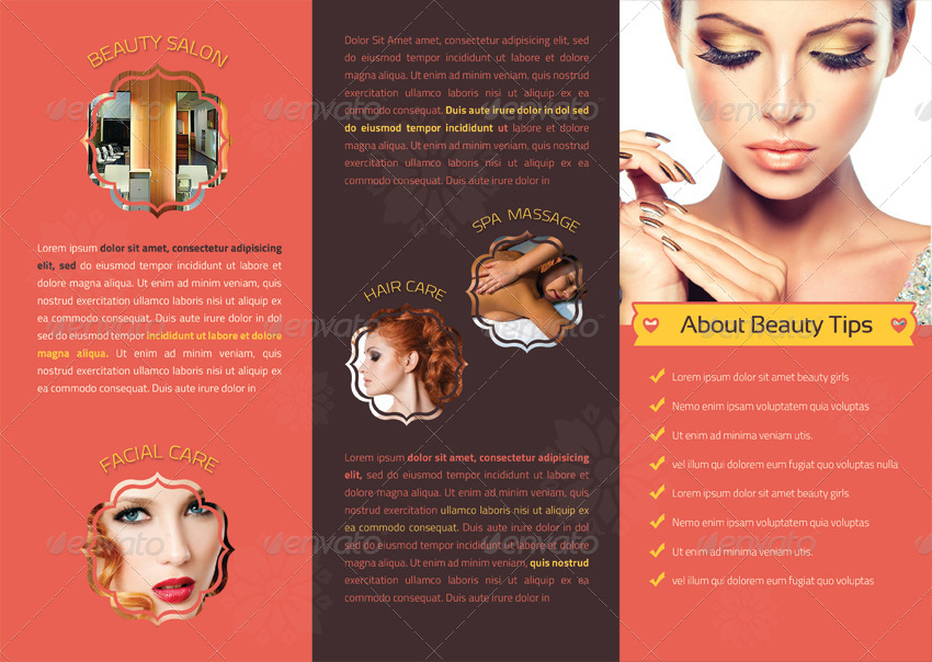 Elegant Beauty Salon Tri-Fold Brochure By Vectorweb | Graphicriver