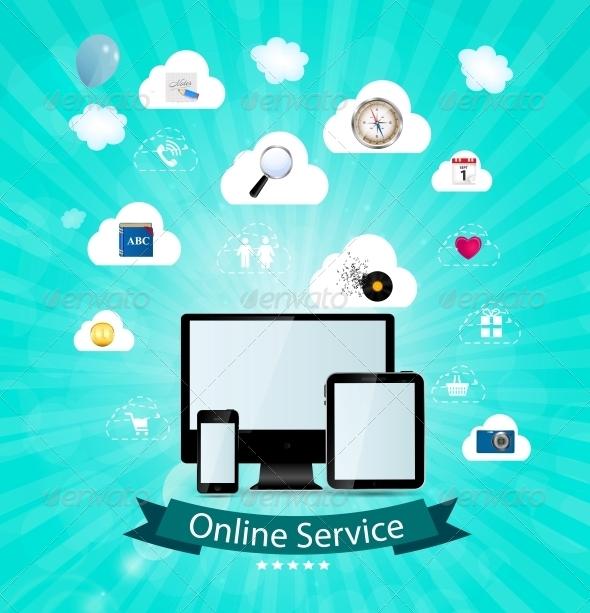 Online Service Concept Vector Illustration - Backgrounds Decorative