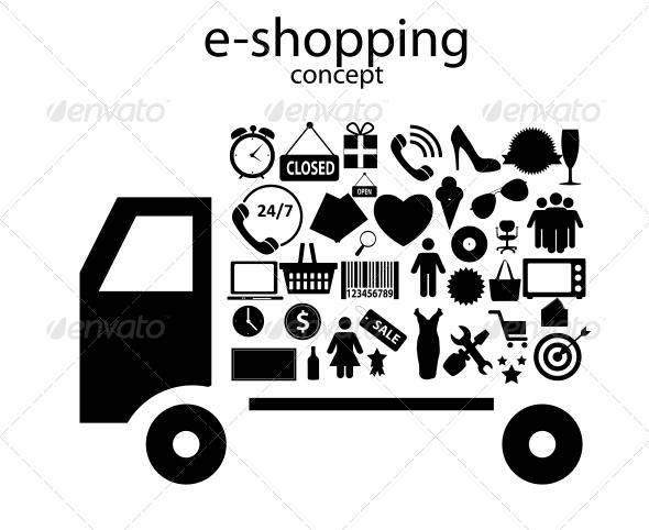 E-shopping Concept Icons - Web Technology