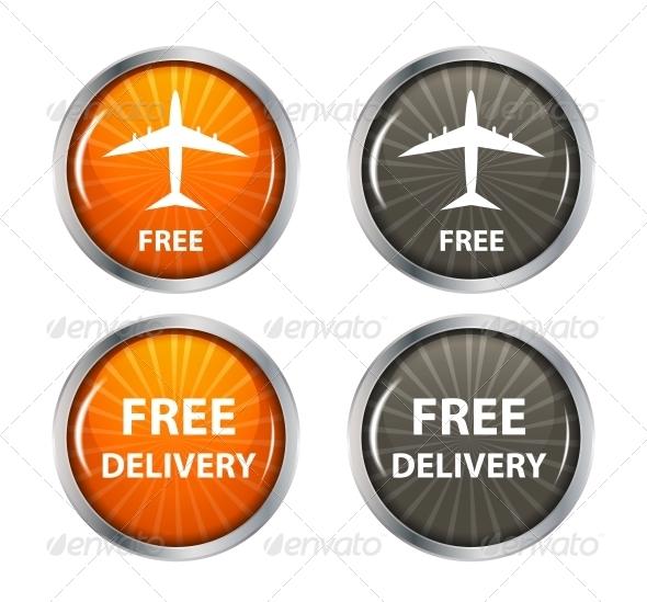Free Shipping, Delivery Icon Set. - Decorative Symbols Decorative