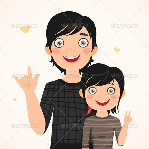 Rocker Father and Daughter - People Characters