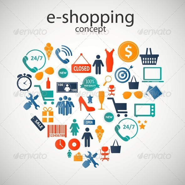E-Shopping Concept Icons - Web Technology