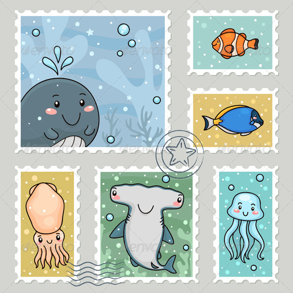Stamp with Sea Animals - Animals Characters