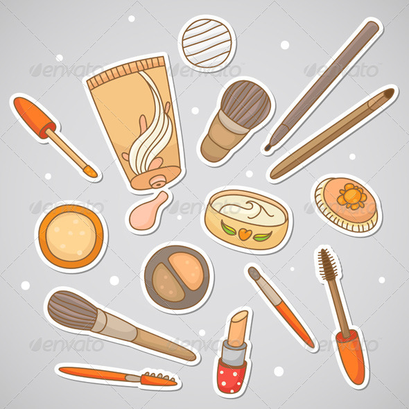 Stickers with Cosmetics - Objects Vectors