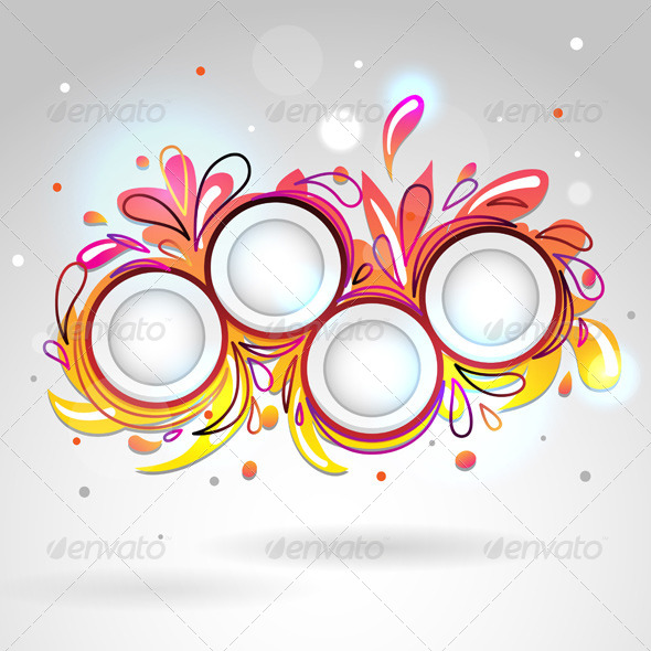 Abstract Floral Banner, Yellow Pink - Backgrounds Decorative