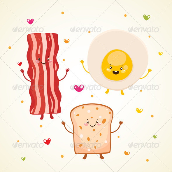 Breakfast Bacon, Fried Egg, Toast - Food Objects