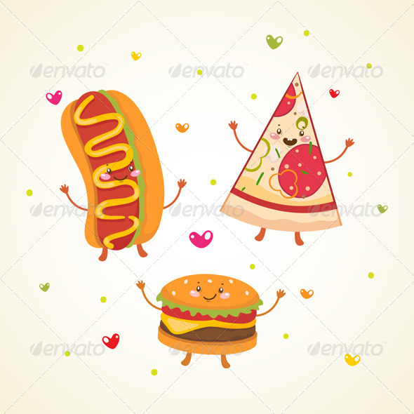 Fast Food, Burger, Hot Dog and Pizza - Food Objects