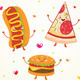 Fast Food, Burger, Hot Dog and Pizza - GraphicRiver Item for Sale
