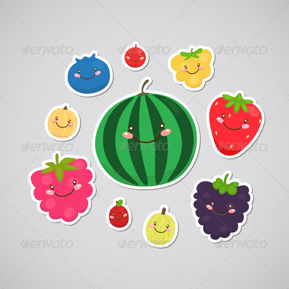Berry Stickers - Food Objects