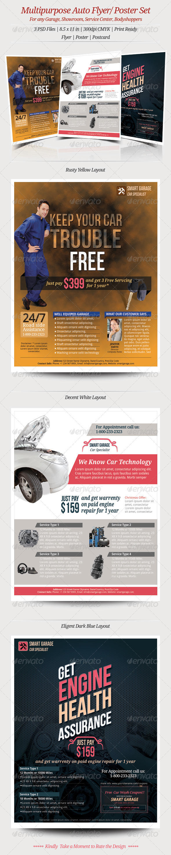 Multipurpose Auto Flyer Poster - Flyers Print Templates