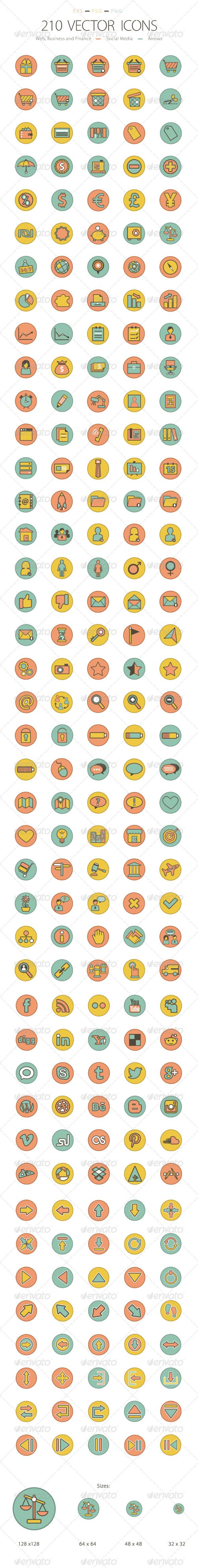 Set of 210 Icons - Web Icons