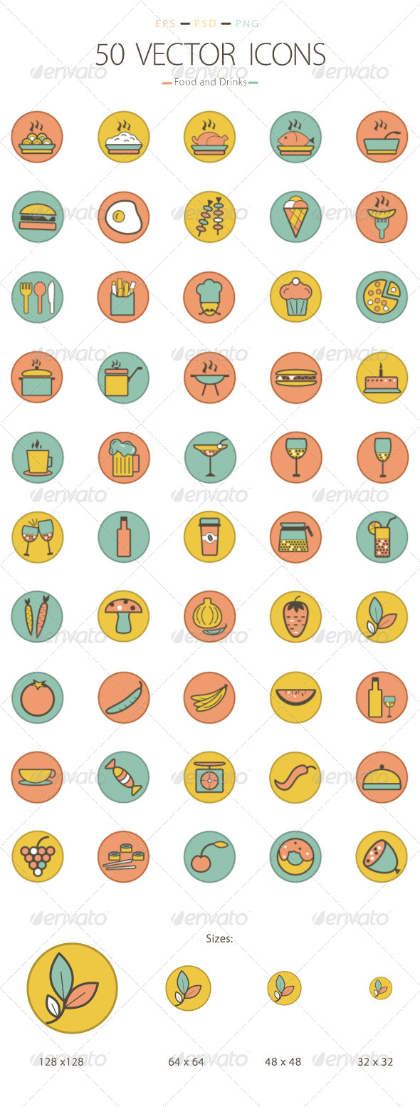 Set of 50 Food and Drinks Icons - Food Objects