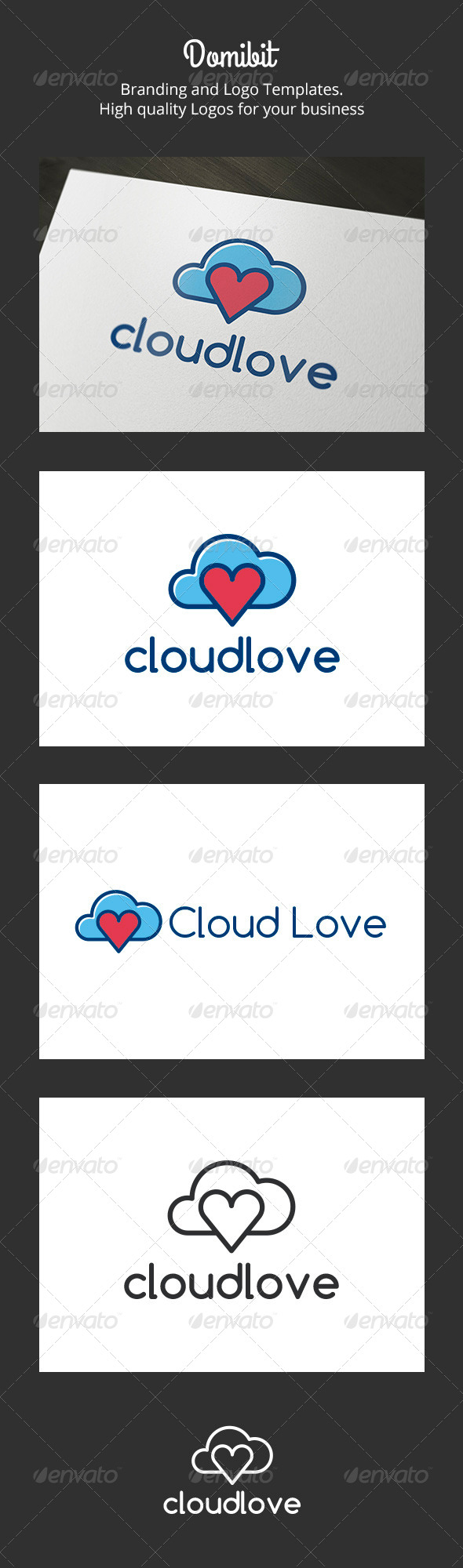 Cloud Love Logo - Nature Logo Templates