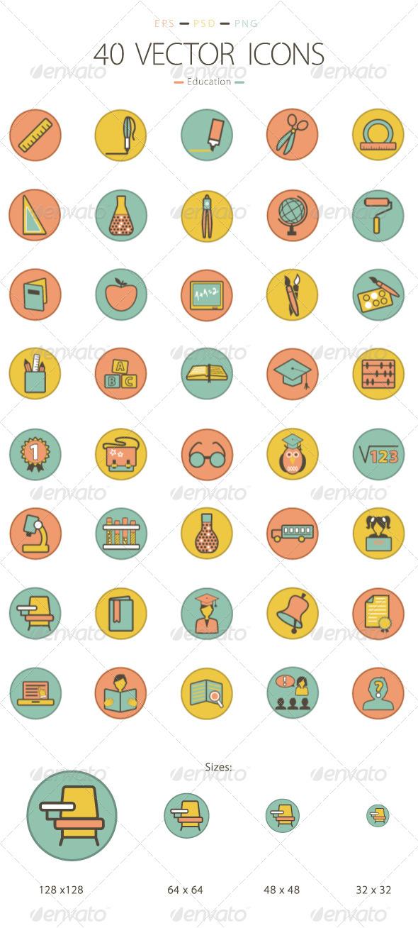 Set of 40 Education Icons - Web Icons