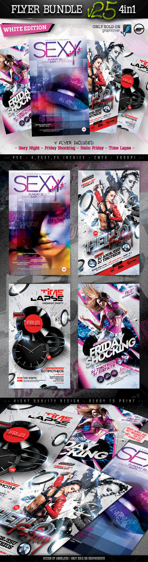 Flyer Bundle Vol25 - 4 in 1 - Clubs & Parties Events