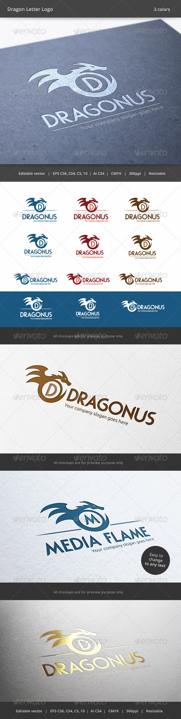 Dragon Letter Logo - Animals Logo Templates