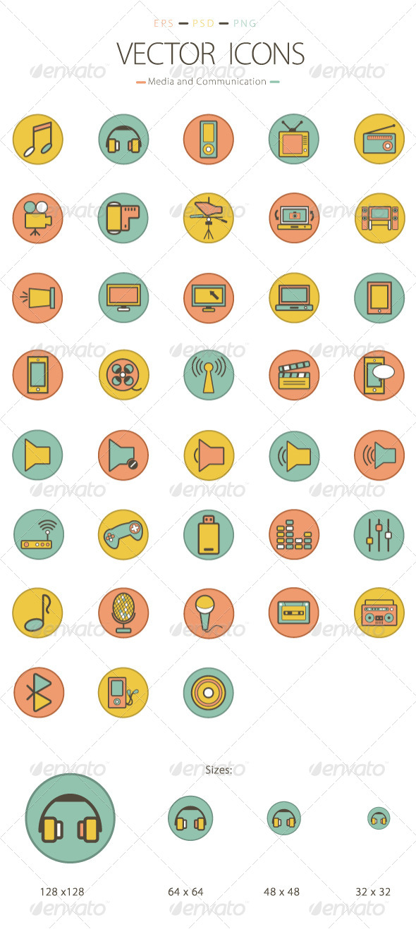 Set of 38 Media and Communication Icons - Media Icons