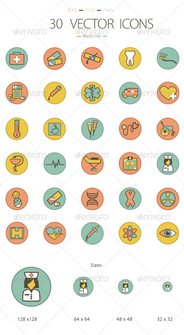 Set of 30 Medicine Icons - Miscellaneous Icons