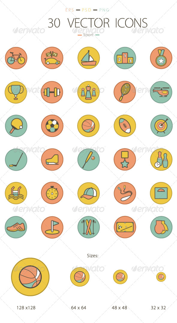 Set of 30 Sport Icons - Icons