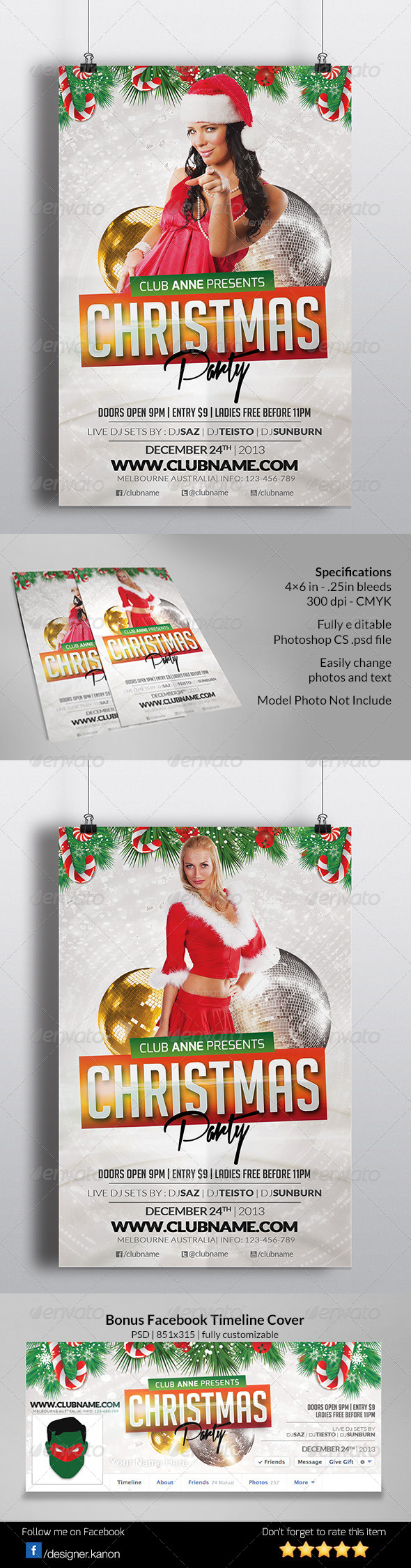 Christmas Event Flyer + Facebook Cover - Events Flyers