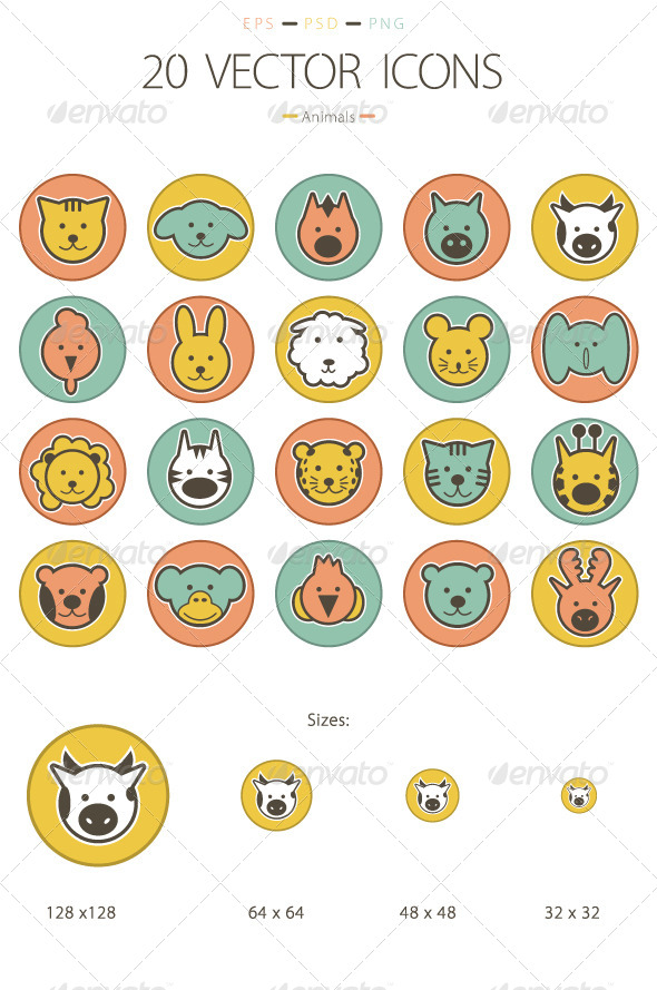 Set of 20 Animals Icons - Animals Characters
