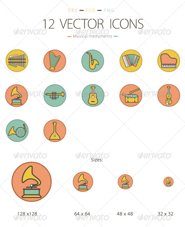 Set of 12 Musical Instruments Icons - Man-made objects Objects