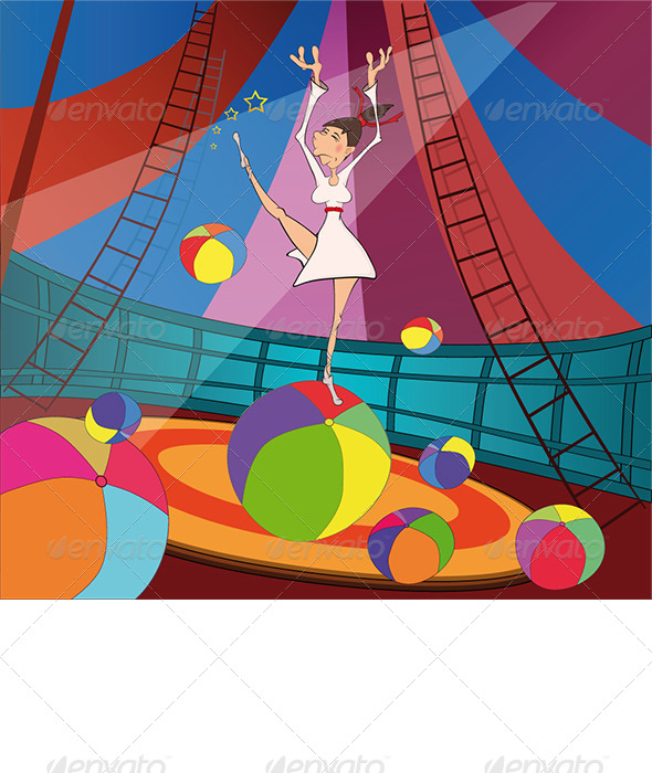 The Gymnast and Circus Cartoon  - Sports/Activity Conceptual