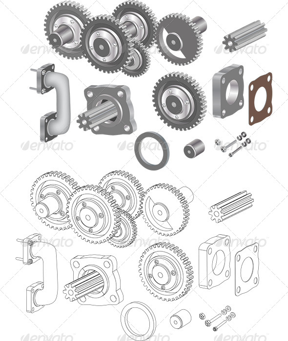 The Complete Set Mechanisms and Gears  - Objects Vectors