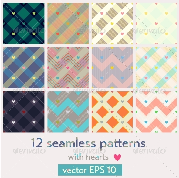 Set of 12 Seamless Patterns with Hearts - Patterns Decorative