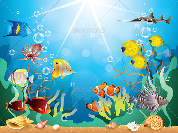 Underwater World Vector Illustration - Animals Characters