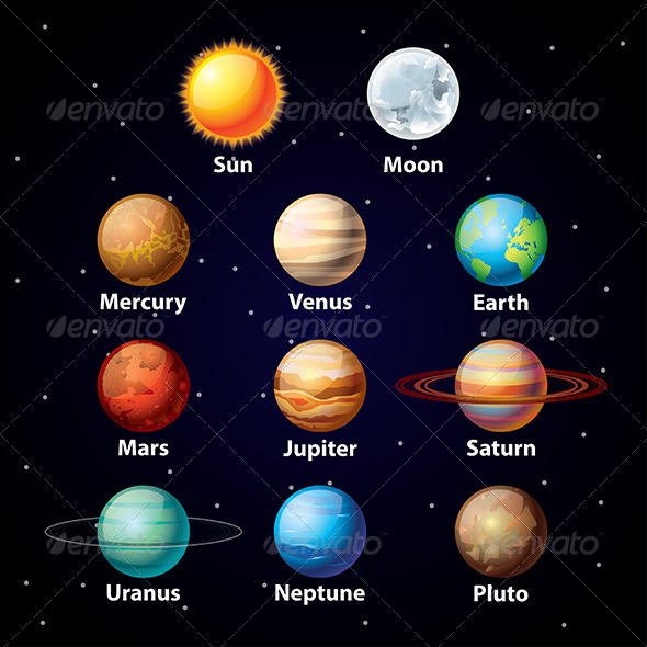 Glossy Planets Vector Set - Abstract Conceptual