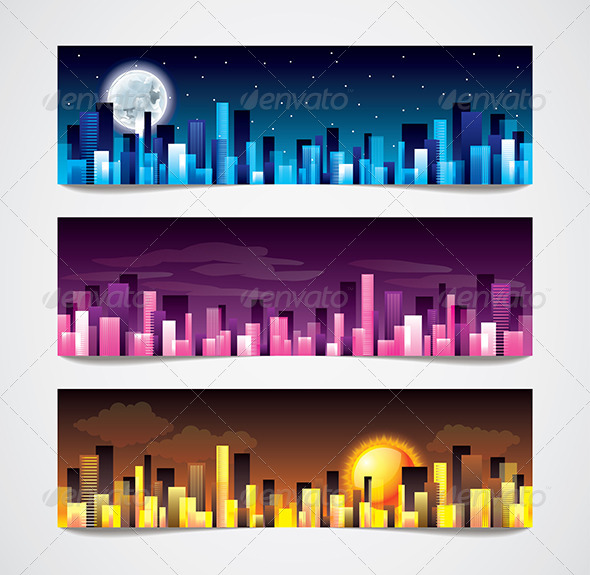 City Skylines Vector Banners - Buildings Objects