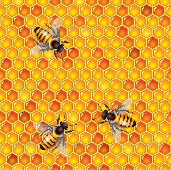 Bees and Honeycells Seamless Background - Food Objects