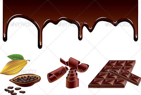 Chocolate and Cacao Vector Set - Food Objects