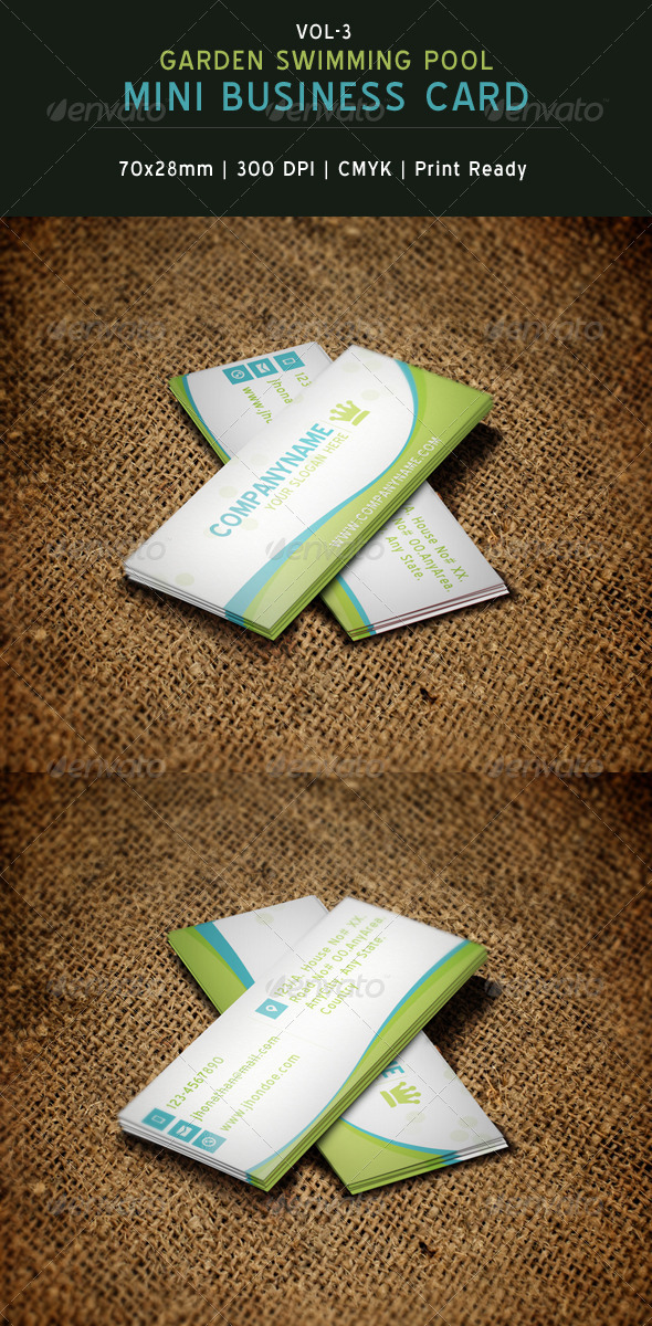 Garden Swimming Pool Mini Business Card By CreativeSourceonline - Mini business card template