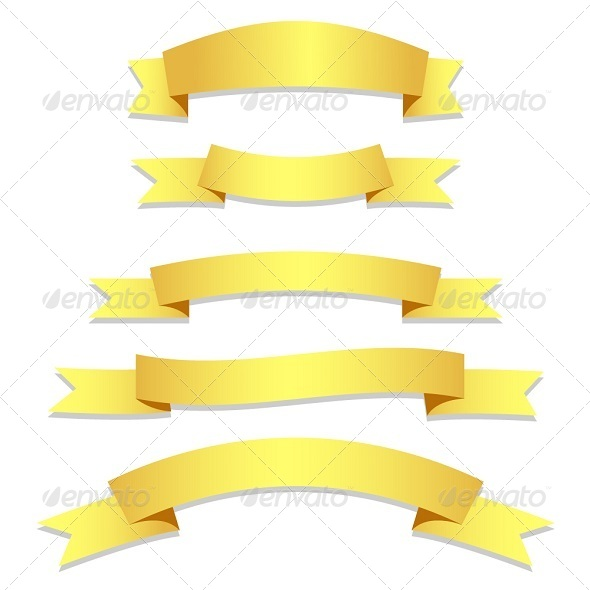 Gold Ribbons Flags - Borders Decorative