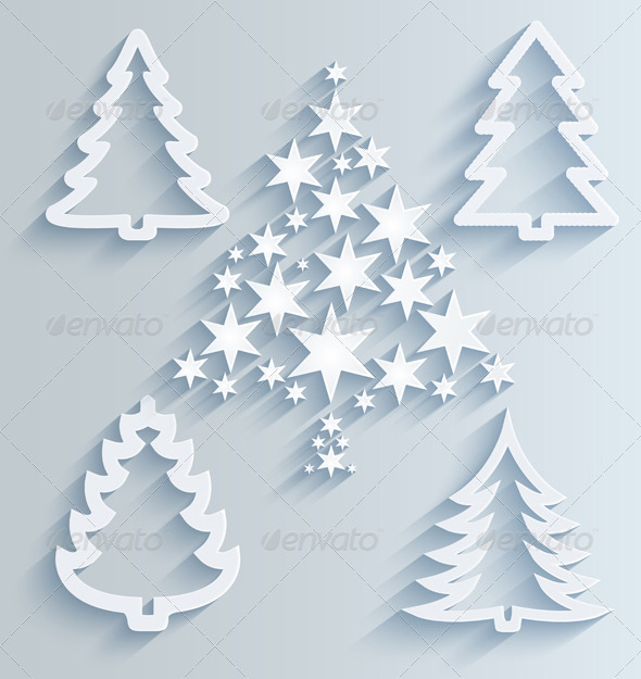 christmas trees paper holiday decorations by ramcreativ graphicriver