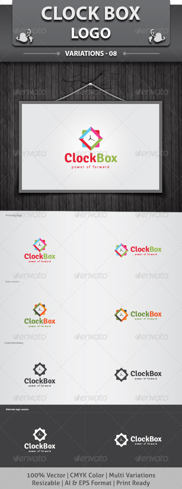 Clock Box Logo - Objects Logo Templates